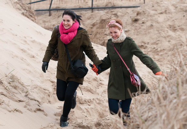 Jen and Tilly spend a romantic day on the beach.