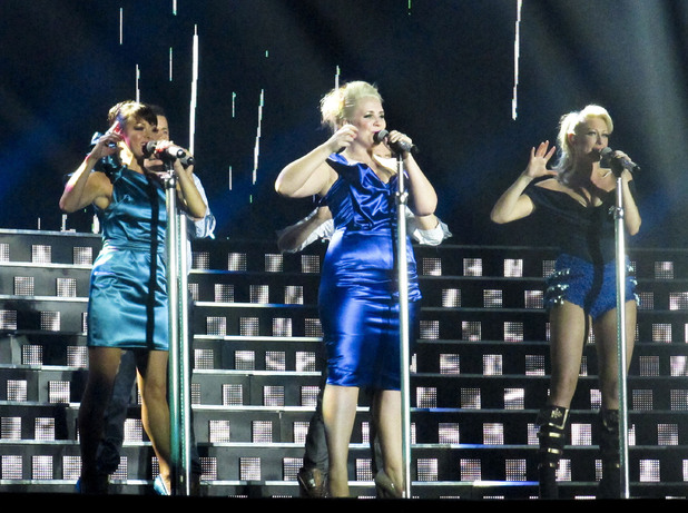 Lisa Scott-Lee, Claire Richards and Faye Tozer of Steps - The Ultimate Tour performing the opening night of their reunion tour at the Odyssey Arena