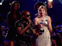 Kanye West and Taylor Swift Kanye West rudely interrupts award winner Taylor Swift. Taylor Swift won the award for best female music video, and was rudely interrupted by Kanye, who snatched the microphone and said 'Taylor, Im really happy for you. Ill let you finish, but Beyonce had one of the best videos of all time! One of the best videos of all time!' Beyonce, a losing nominee, appeared surprised and horrified at Kanyes interruption. After his outburst Kanye walked off stage leaving a bewildered Taylor Swift to finish her acceptance speech, which went largely unheard. Beyonce later wins the award for best video of the year, and asks Taylor to return to the stage to finish her speech at the '2009 MTV Video Music Awards' USA - 13.09.09 Supplied by WENN.comWENN does not claim any ownership including but not limited to Copyright or License in the attached material. Any downloading fees charged by WENN are for WENN's services only, and do not, nor are they intended to, convey to the user any ownership of Copyright or License in the material. By publishing this material you expressly agree to indemnify and to hold WENN and its directors, shareholders and employees harmless from any loss, claims, damages, demands, expenses (including legal fees), or any causes of action or  allegation against WENN arising out of or connected in any way with publication of the material.