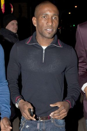 Jermaine Defoe leaving the Rose nightclub after the launching of Alexandra Burke&#39;s new lipstick.