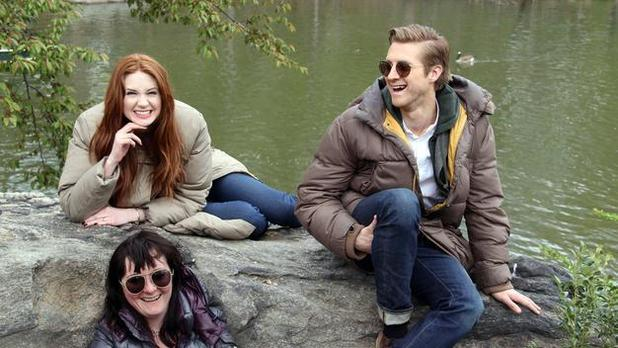Caroline Skinner with Karen Gillan and Arthur Darvill