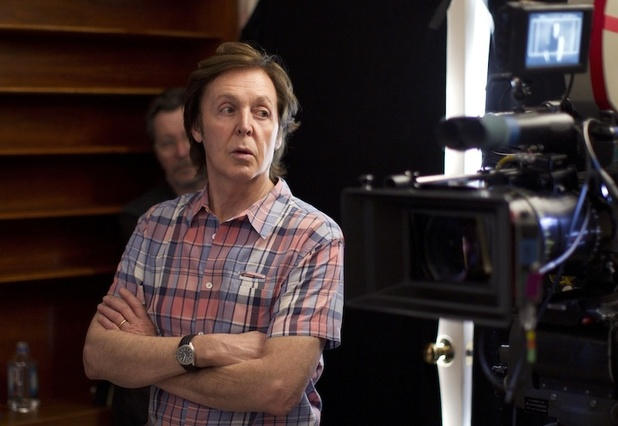 Paul McCartney on the set of his new video 'My Funny Valentine'