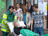 David feels terrified and guilty as Audrey is taken to hospital by the paramedics after a suspected heart attack