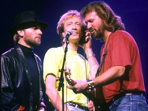 The Bee Gees perform at Wembley Arena in 1989