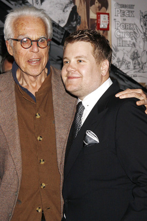 James Corden and playwright John Guare celebrate Broadway opening night at after party for One Man, Two Guvnors, held at the Liberty Theatre.
