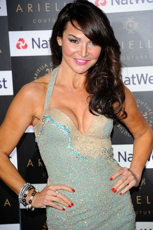 Lizzie Cundy at the Ariella Couture Catwalk Show, London