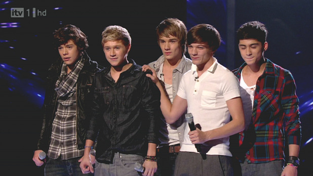 One Direction compete on 'The X Factor'. Shown on ITV1