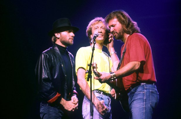 The Bee Gees perform at Wembley Arena