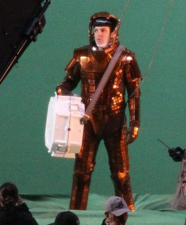Zachary Quinto filming an action scene