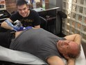 Boss star Kelsey Grammer spends $60 on his first tattoo in Chicago.