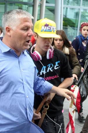 Justin Bieber arrives at London's Heathrow Airport.