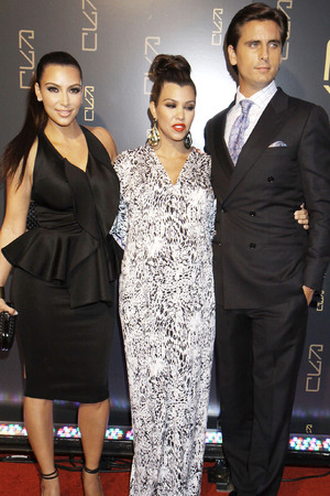 Kim Kardashian, Kourtney Kardashian and Scott Disickat at restaurant opening