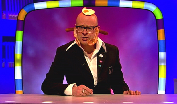 Programme host Harry Hill is seen with food all over his head on ' Harry Hill's TV Burp '. Shown on ITV1.