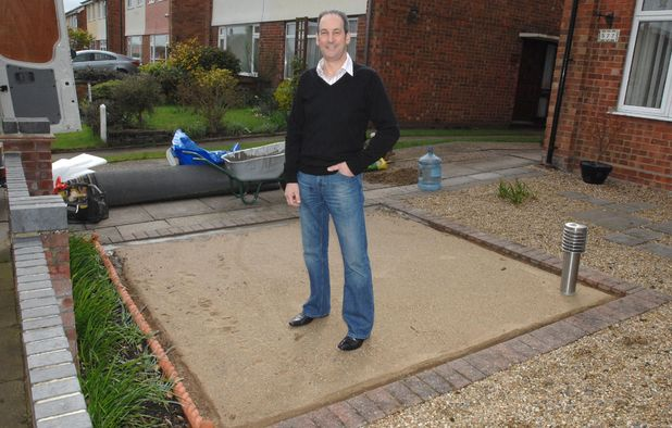 Steve Woolnough on his garden after the astro turf was stolen