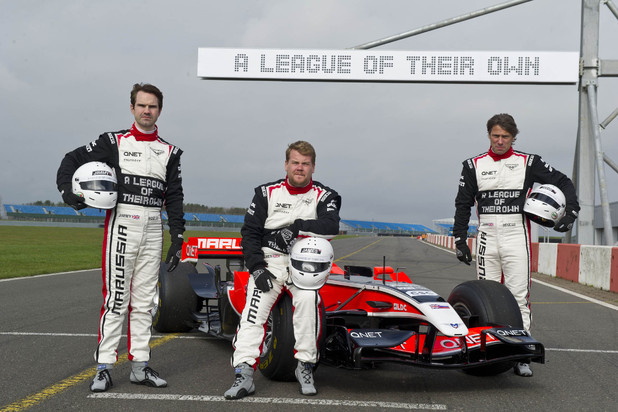 Jimmy Carr, James Corden and John Bishop in A League of Their Own F1 special