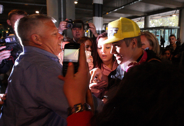 Justin Bieber at Heathrow Airport