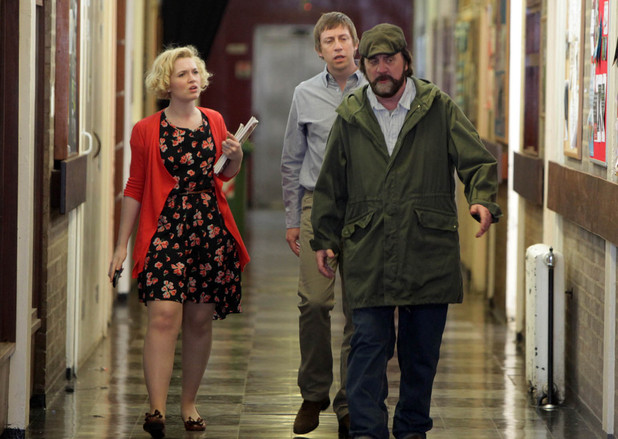 Zak Dingle (Steve Halliwell) makes a scene at Belle's school