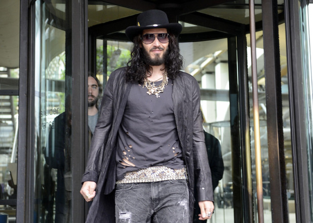Russell Brand leaves Portcullis House after speaking to Home Affairs Select Committee about drugs regulation