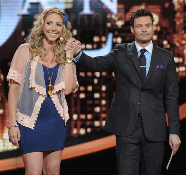 American Idol: Top 6 Elise Testone and Ryan Seacrest.