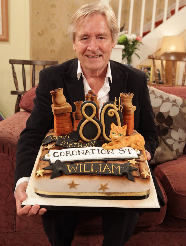 William Roache is presented with a birthday cake live on this morning as part of a day of celebrations for his 80th birthday