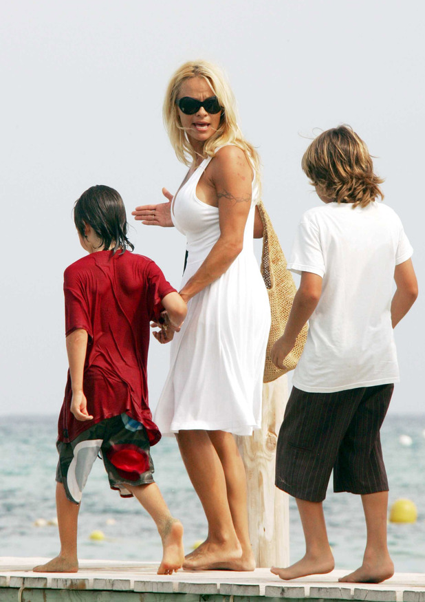 Pamela Anderson and Brandon and Dylan