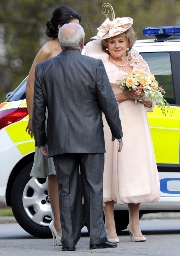 Coronation Street - Rita's Wedding; On-set pictures - Rita arrives in a police car