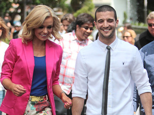 Mark Ballas and Katherine Jenkins at The Grove to appear on the entertainment news show, 'Extra'. Los Angeles, California