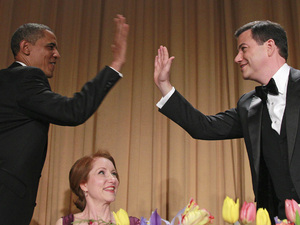 White House Correspondents' Dinner 2012: Barack Obama high-fives Jimmy Kimmel