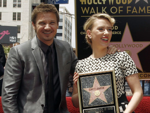 Scarlett Johansson and Jeremy Renner at Johansson&#39;s Hollywood Walk of Fame induction