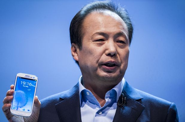 JK Shin, President and Head of IT for Mobile Commnunication Division Samsung Electronics at the Samsung Galaxy 3 Mobile Phone launch at Earls Court Exhibition Center, London