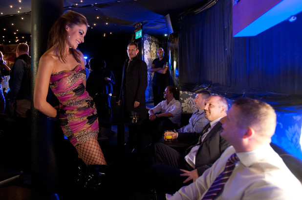 Nick Tilsley (Ben Price) finds Kylie Platt (Paula Lane) in a lap-dancing bar.