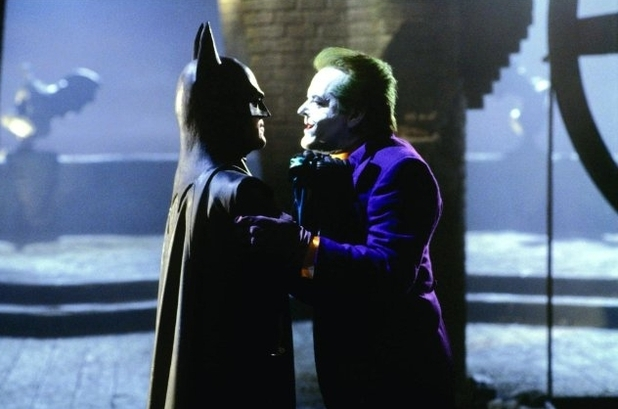 Michael Keaton as Batman, with Jack Nicholson as the Joker, in Batman (1989)