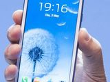 Samsung Galaxy 3 Mobile Phone displayed at the Samsung Galaxy 3 Mobile Phone launch at Earls Court Exhibition Center, London