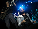 """Simon Le Bon apparently suffers a leg injury while """"running off stage""""."""