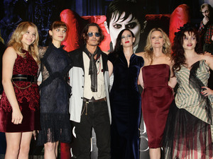 Chloe Moretz, Bella Heathcote, Johnny Depp, Eva Green, Michelle Pfeiffer and Helena Bonham Carter arriving at the Dark Shadows UK film premiere at the Empire Leicester Square, London.