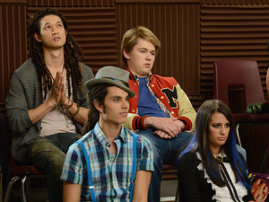 GLEE: Tina bumps her head and sees Mike (Harry Shum Jr., top L) as Joe, Rory (Damian McGinty, top R) as Sam, Joe (Samuel Larsen, bottom L) as Mike and Rachel (Lea Michele, bottom R) as Tina in the first hour of a special two-hour &quot;Props/Nationals&quot; episode of GLEE airing Tuesday, May 15 (8:00-10:00 PM ET/PT) on FOX.