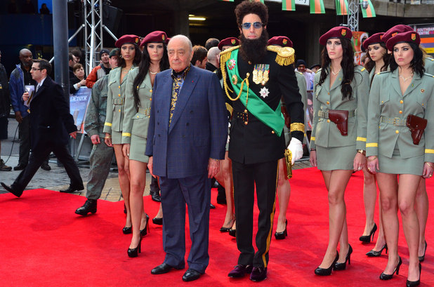 'The Dictator' World Premiere at the Royal Festival Hall, London: Mohamed Al Fayed, Sacha Baron Cohen aka Admiral General Aladeen