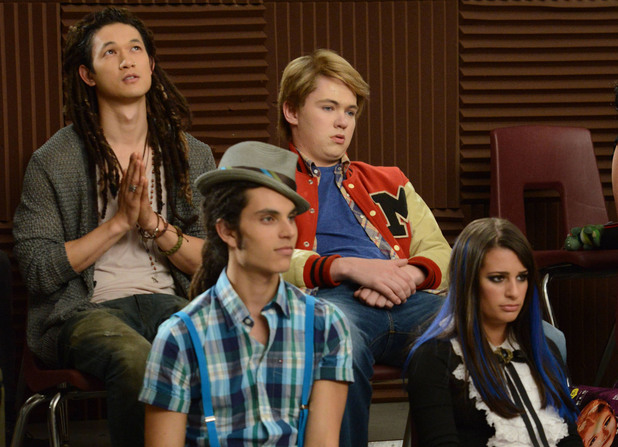 "GLEE: Tina bumps her head and sees Mike (Harry Shum Jr., top L) as Joe, Rory (Damian McGinty, top R) as Sam, Joe (Samuel Larsen, bottom L) as Mike and Rachel (Lea Michele, bottom R) as Tina in the first hour of a special two-hour ""Props/Nationals"" episode of GLEE airing Tuesday, May 15 (8:00-10:00 PM ET/PT) on FOX."