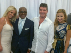 Britney Spears with the X Factor judges - LA Reid, Simon Cowell and Demi Levato