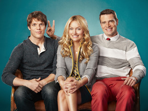 THE GOODWIN GAMES: Jimmy (Jake Lacy, L), Chloe (Becki Newton, C) and Henry (Scott Foley, R).