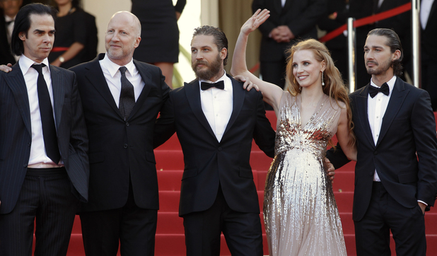 Screenwriter Nick Cave, director John Hillcoat, actors Tom Hardy, Jessica Chastain and Shia LaBeouf arrive for the screening of Lawless.