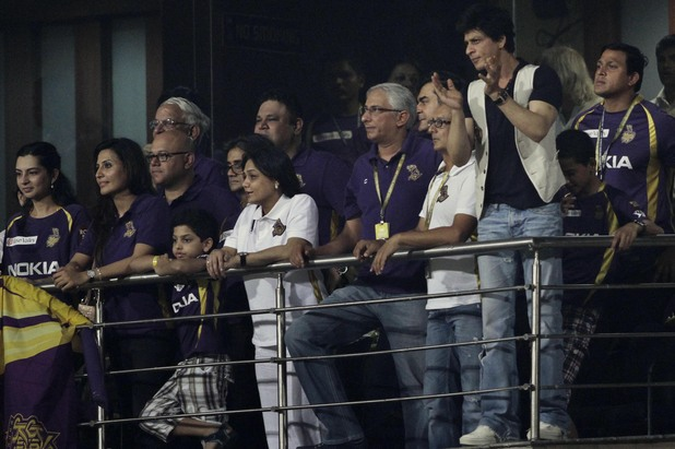 Shah Rukh Khan watches an Indian Premier League (IPL) game on May 14, 2012
