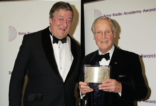 Stephen Fry with honorary Gold Award recipient Nicholas Parsons