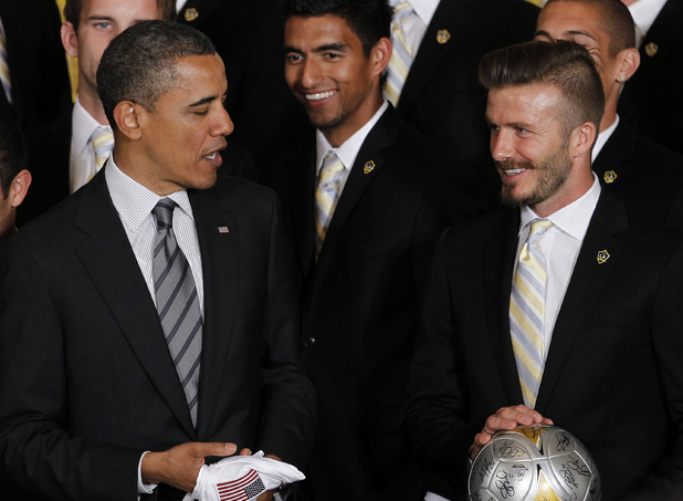 Barack Obama meets David Beckham and the LA Galaxy team at the White House, May 15 2012