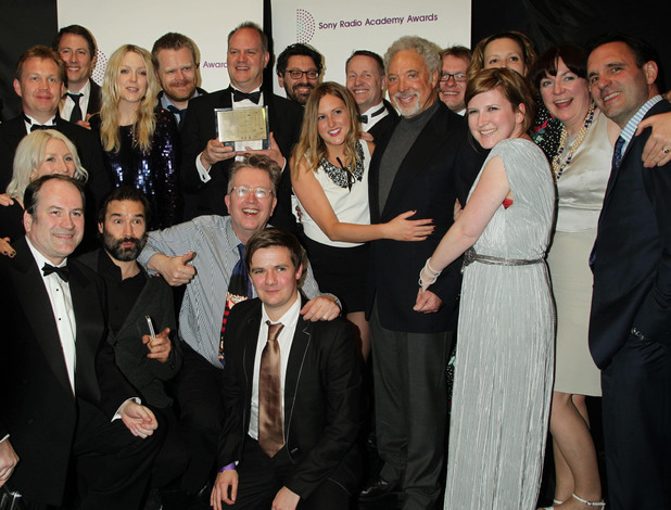 Sir Tom Jones with the Sony award-winning BBC 6Music broadcast team