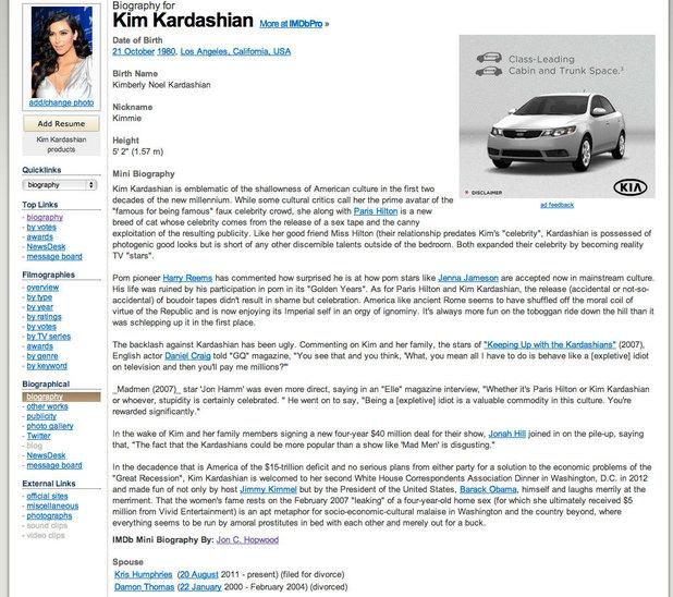 Kim Kardashian's IMDb hacked bio