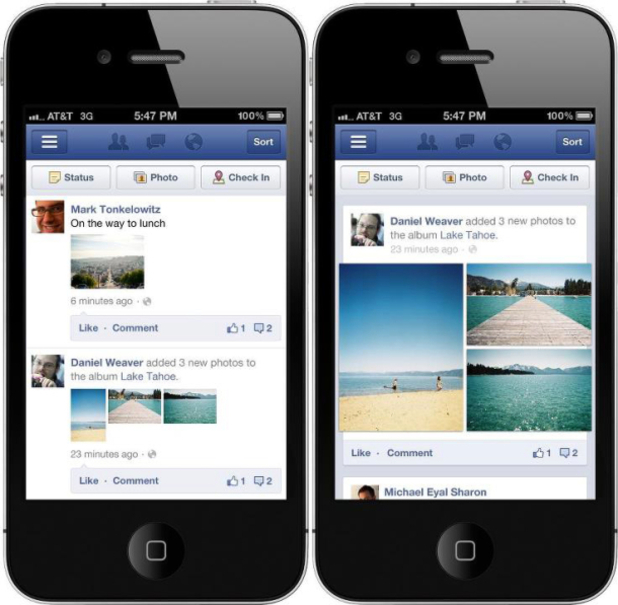 Facebook Mobile App redesign screenshots