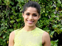 Freida Pinto was spotted on the set of Terrence Malick's upcoming film.