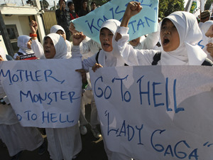 Protestors at an anti-Lady GaGa rally outside the US Embassy in Jakarta, Indonesia - May 25, 2012