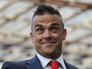 Robbie Williams at Old Trafford for Soccer Aid.